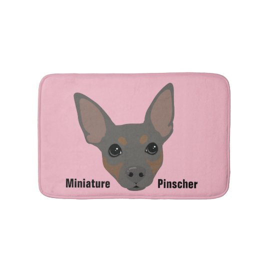 Miniature Pinscher Dog Portrait Bathroom Mat