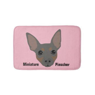 Miniature Pinscher Dog Portrait Bathroom Mat Bath Mats