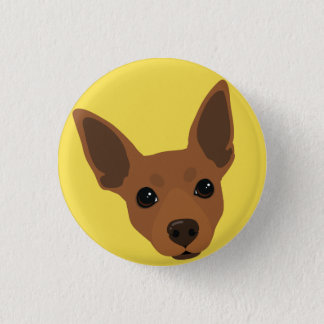 Miniature Pinscher Dog Portrait Pinback Button