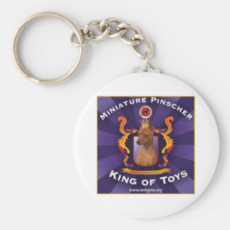 Miniature Pinscher: King of Toys Basic Round Button Key Ring