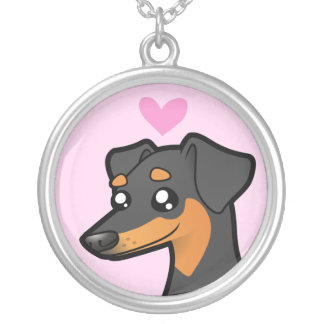 Miniature Pinscher / Manchester Terrier Love Silver Plated Necklace