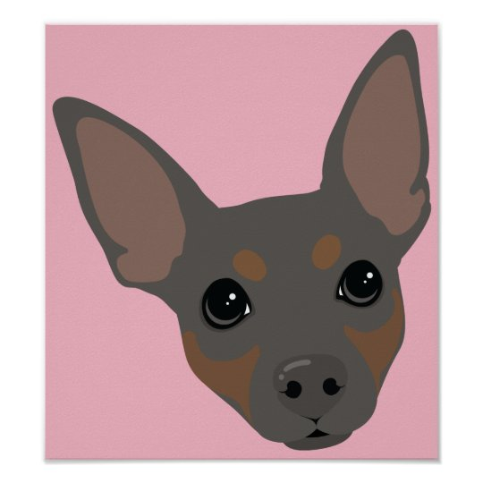 Miniature Pinscher Min Pin Dog Portrait Poster
