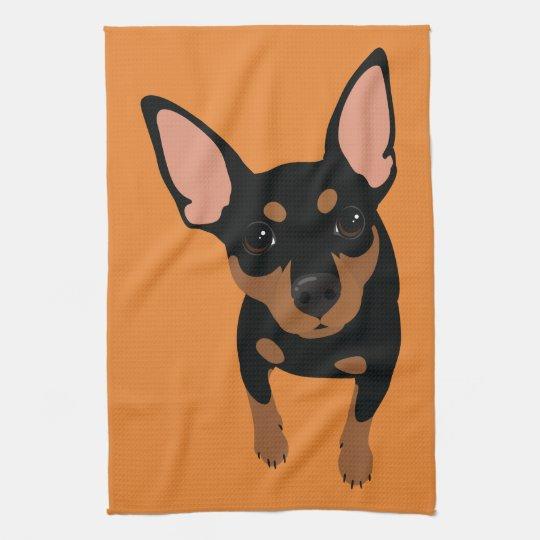 Miniature Pinscher Min Pin Dog Portrait Towel