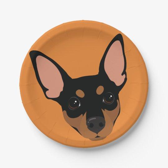Miniature Pinscher Min Pin Portrait Paper Plate