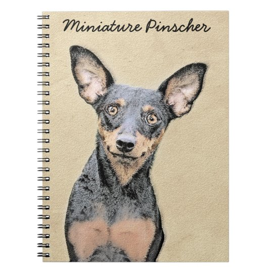 Miniature Pinscher Painting Cute Original Dog Art Notebook