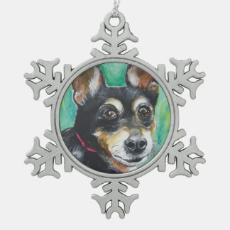 Miniature Pinscher Snowflake Pewter Christmas Ornament