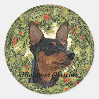 Miniature Pinscher Wreath Classic Round Sticker