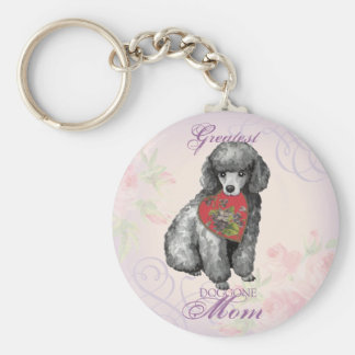 Miniature Poodle Heart Mom Basic Round Button Key Ring