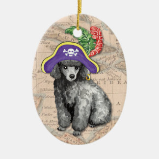 Miniature Poodle Pirate Christmas Ornament