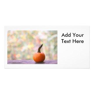 Miniature Pumpkin with Fall Colors Photo Custom Photo Card