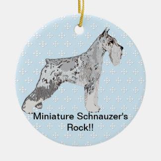 Miniature Schnauzer - Blue w/ White Diamond Design Round Ceramic Decoration