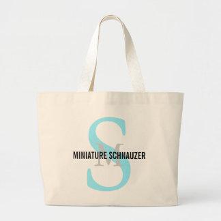 Miniature Schnauzer Breed Monogram Design Large Tote Bag