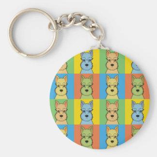 Miniature Schnauzer Cartoon Pop-Art Key Ring