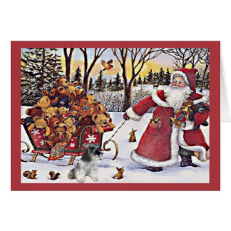 Miniature Schnauzer Christmas Card Santa Bears