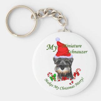 Miniature Schnauzer Christmas Gifts Key Ring