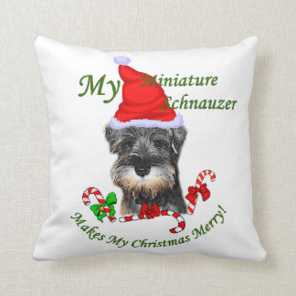 miniature Schnauzer Christmas Throw Pillow