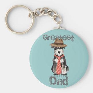 Miniature Schnauzer Dad Basic Round Button Key Ring