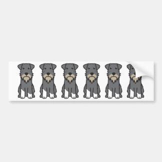 Miniature Schnauzer Dog Cartoon Bumper Sticker