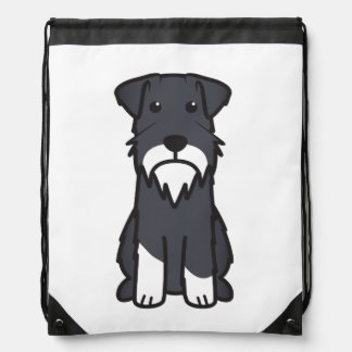 Miniature Schnauzer Dog Cartoon Drawstring Bag