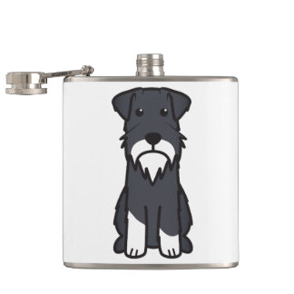 Miniature Schnauzer Dog Cartoon Hip Flask