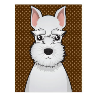 Miniature Schnauzer Dog Cartoon Paws Postcard