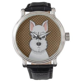 Miniature Schnauzer Dog Cartoon Paws Watch