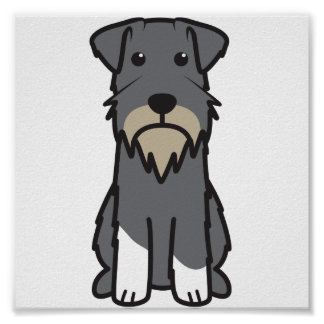 Miniature Schnauzer Dog Cartoon Poster