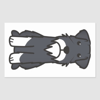 Miniature Schnauzer Dog Cartoon Rectangular Sticker