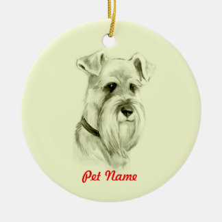 Miniature Schnauzer Dog Pencil Sketch Art Christmas Ornament