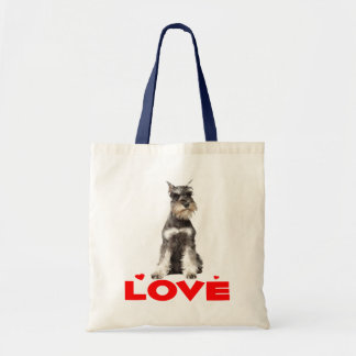 Miniature Schnauzer Gray Puppy Dog Red Heart Tote