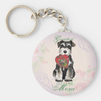 MIniature Schnauzer Heart Mom Basic Round Button Key Ring