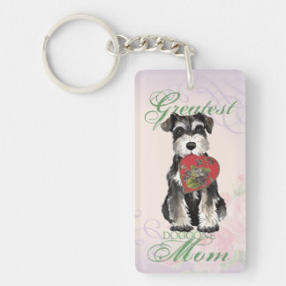 Miniature Schnauzer Heart Mom Double-Sided Rectangular Acrylic Key Ring