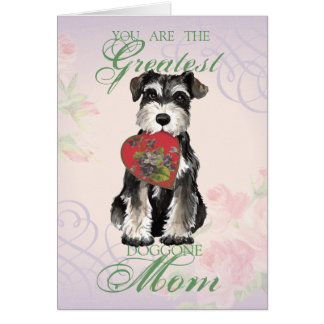 MIniature Schnauzer Heart Mom Greeting Card
