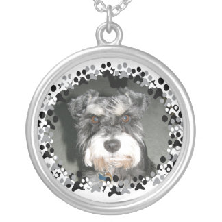 Miniature Schnauzer Photo Silver Plated Necklace