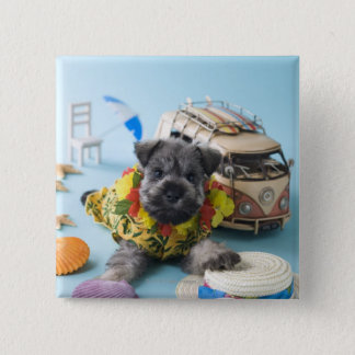 Miniature Schnauzer Puppy and Summer Vacation 15 Cm Square Badge