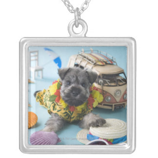 Miniature Schnauzer Puppy and Summer Vacation Silver Plated Necklace