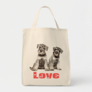 Miniature Schnauzer Puppy Dogs Pink Heart Tote Grocery Tote Bag