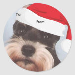Miniature Schnauzer To/From Christmas stickers