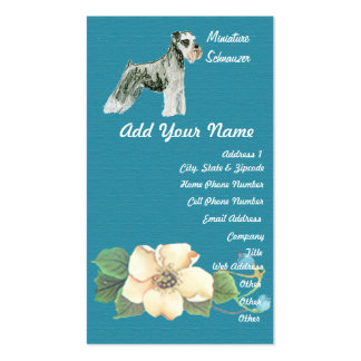 Miniature Schnauzer - Turquoise Floral Design Pack Of Standard Business Cards