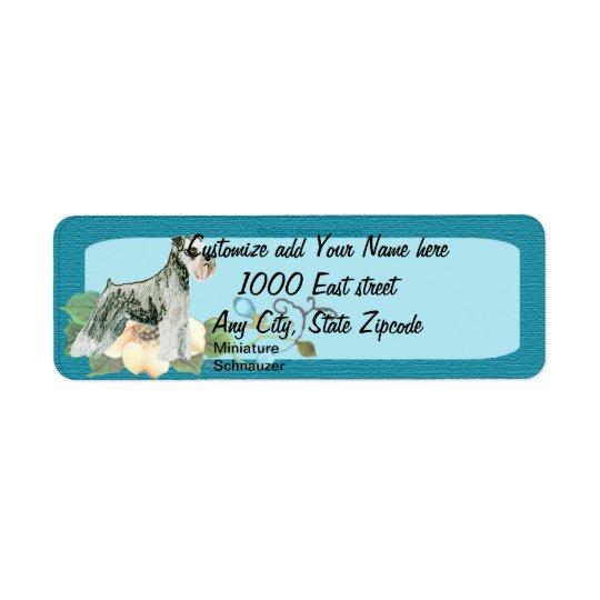 Miniature Schnauzer - Turquoise Floral Design Return Address Label