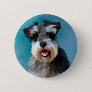 Miniature Schnauzer Water Color Art Painting 6 Cm Round Badge
