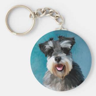 Miniature Schnauzer Water Color Art Painting Basic Round Button Key Ring