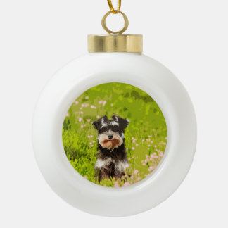 Miniature Schnauzer Water Color Art Painting Ceramic Ball Decoration