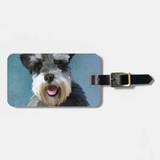 Miniature Schnauzer Water Color Art Painting Luggage Tag
