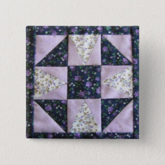 Miniature SHOO-FLY quilt block purple & lavender 15 Cm Square Badge
