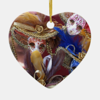 miniature Venetian masks Ceramic Heart Decoration