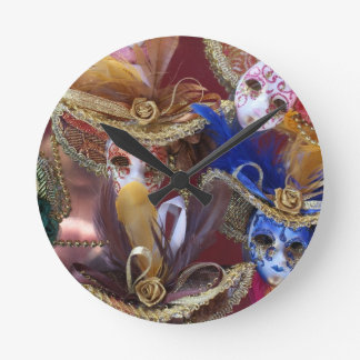 miniature Venetian masks Round Clock