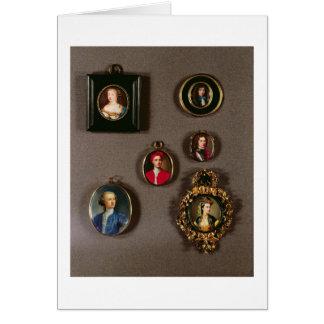 Miniatures from LtoR, TtoB: Frances Teresa Stuart, Card