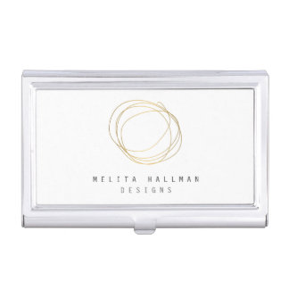 Minimal and Modern Designer Scribble Logo in Gold Business Card Holder