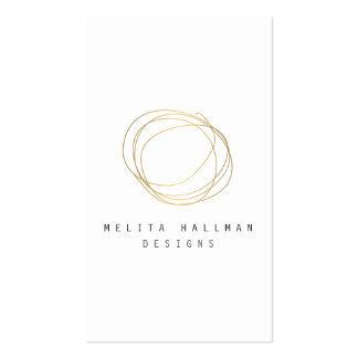 Minimal and Modern Designer Scribble Logo in Gold Pack Of Standard Business Cards
